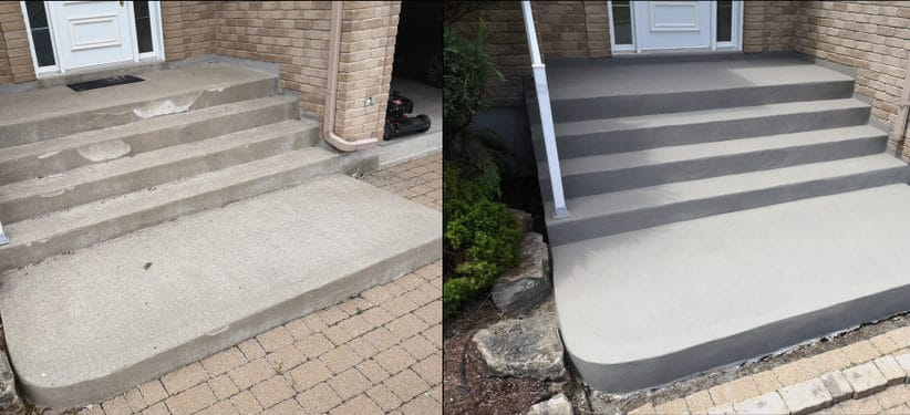 Repaird stairs using conrete overlay: before and after look